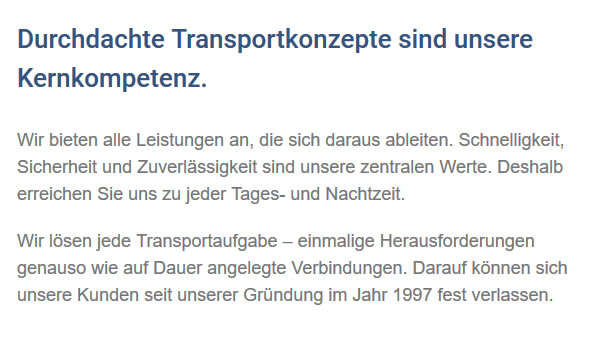 Transportaufgaben in  Alpirsbach
